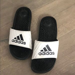 Adidas shoes black and white slides